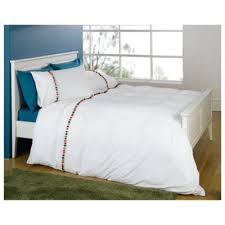 Tesco Bedding Duvet Buy Tesco Pom Pom Emb Duvet Set Single White From Our Single Duvet