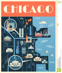Chicago Sights Map by Poster With Map Of Chicago Landmarks Stock Vector Image 77091482