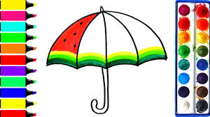 watermelon umbrella coloring page learn colors for girls and