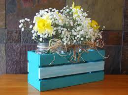 wooden crate mason jar flower holder wedding reception
