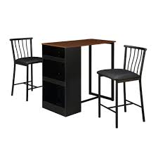 Patio Furniture Pub Table Sets - dorel living isla 3 piece counter height dining set with storage