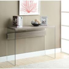 Overstock Sofa Table by Dark Taupe Reclaimed Look Tempered Glass Sofa Table Free
