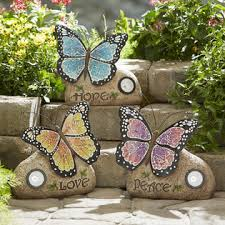 butterfly statue with solar light purple outdoor living