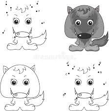 cartoon wolf coloring book dot dot game kids stock