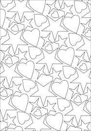 hearts stars pattern coloring free printable coloring pages