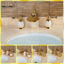 Gold Bathroom Fixtures by Online Buy Wholesale Gold Centerset Bathroom Faucets From China