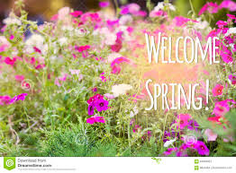 welcome spring message with a beautiful flowers stock photo
