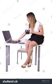 Sitting On The Desk Beautiful Woman Sitting On Desk Stock Photo 68158588