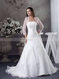 wedding dress with bolero lace bolero with appliqued strapless organza wedding dress