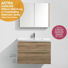 astra slimline 900mm white oak timber wood grain narrow bathroom