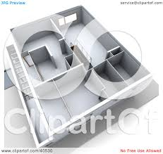 clipart illustration of a 3d aerial view of a floor plan with