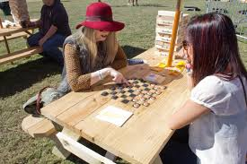 Outdoor Checker Table Made From Shiner Bock S Garden Guests Were Encouraged To Relax At The