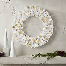 foil white and gold wreath cb2