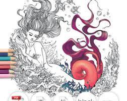 coloring fantasy mermaid fish art