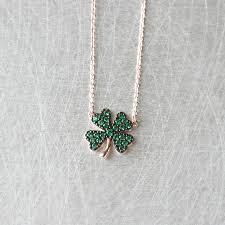 clover leaf necklace images Emerald green four leaf clover necklace rose gold jpg