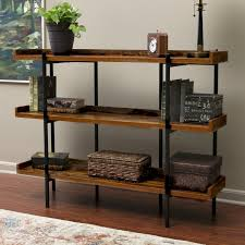 gracie oaks calona modern wood and steel 3 shelf 36