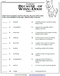 because of winn dixie worksheets