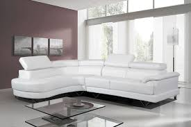 Cosmo Stylist Modern White Leather Corner Sofa LeftHand - Corner leather sofas