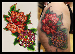 peony chrysanthemum tattoo by coconut cocacola on deviantart