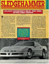 callaway corvette turbo sledgehammer lingenfelter powered 1988 callaway sledgehammer corvette mecum