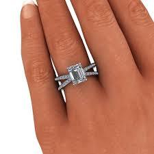 emerald cut engagement rings split shank engagement ring emerald cut engagement ring