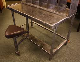 French Industrial Desk French Industrial Steel Post Office Desk With Seat At 1stdibs