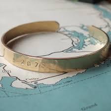 Personalized Cuff Bracelet Brass Cuff Bracelet Maine 207 Becoming Jewelry Hand Stamped