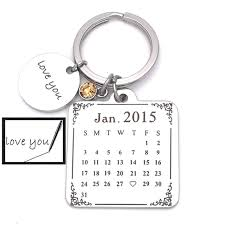 save the date calendar sale sterling calendar keychain gift for him calendar key chain