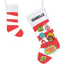 personalized yo gabba gabba candy cane faces christmas stocking
