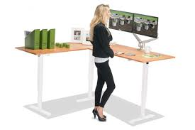 l shaped standing desk l shaped height adjustable standing desk multitable com creative