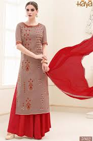 trendy palazzo style cotton salwar suit in peach color cr 5982 1 jpg