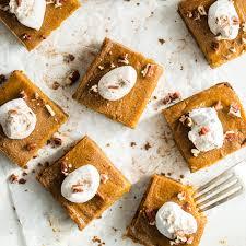 vegan pumpkin pie squares with gluten free graham cracker crust