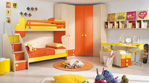 bedroom cheerful kids bedroom design with orange yellow bunk bed