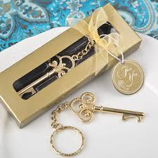 key bottle opener wedding favors free shipping 15pcs lot golden wedding favors gold key keychain