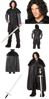 game of thrones jon snow mens costume deluxe cloak wig and