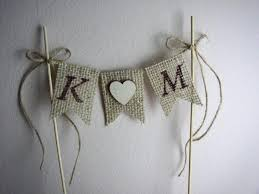 burlap cake toppers rustic wedding cake topper personalized cake topper initial