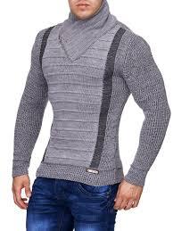 s wool sweaters stylish 2 line mock neck zipper sweater gray