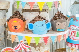 circus animal carnival jungle party printable cupcake decor