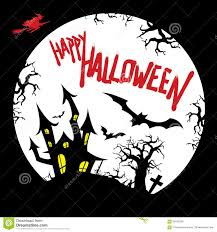 happy halloween card design with haunted house graveyard bats