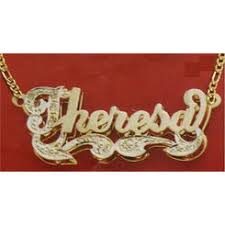 Nameplate Necklace Double Plated Name Necklace 14k