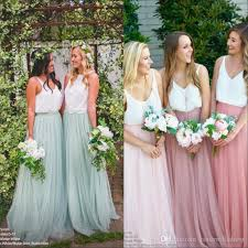 tulle skirt bridesmaid 2017 boho soft tulle skirts lace top bridesmaid dresses v