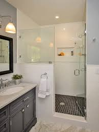 bathroom chair rail ideas awesome glass enclosed shower with white wall tile chair rail door