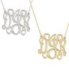 monogram necklace pendant curly split chain monogram necklace
