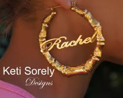 hoop earrings with name name earrings etsy