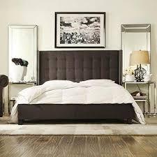 modern button tufted wingback dark gray linen upholstered queen