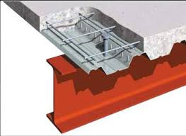 reinforced concrete cast onto steel decking supported by beams or