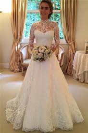 high wedding dresses lace a line sleeve high neck wedding dresses