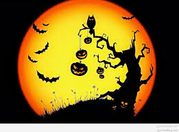 best halloween scary bats owl pumpkins moon wallpaper