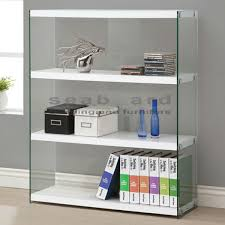 Coaster Bookshelf Coaster 800536 Glossy White Bookcase With Glass Sides