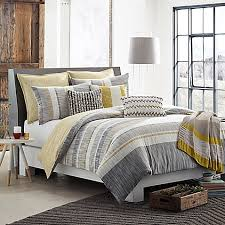 kas room logan duvet cover in grey yellow bed bath beyond with
